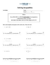 PDF: Algebra - inequalities, graphing
