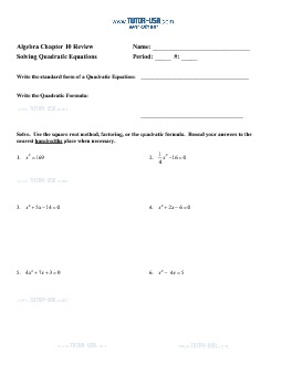 PDF: Algebra - factoring, factor, quadratic equations, quadratic formula