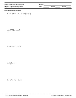 PDF: Algebra - equations, quadratic equations, quadratic formula