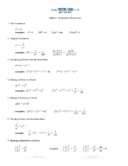 Worksheet: Algebra Exponent Rules and Properties Sheet ...