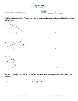 PDF: Algebra, Pre-Algebra - pythagorean theorem