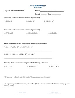 Scientific Notation   Write And Order Numbers Worksheet