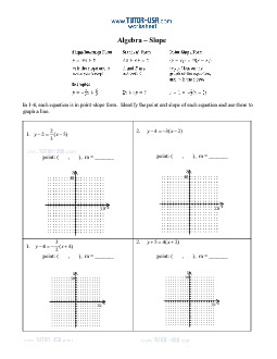 Worksheet: Slope - Slope Intercept, Standard Form, Point-Slope ...