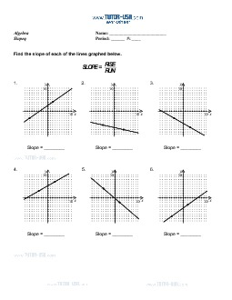 Worksheet: Slope - Linear Equations - Rise over Run | Algebra Printable