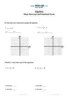 worksheet slope standard form and slope intercept form algebra printable. Black Bedroom Furniture Sets. Home Design Ideas