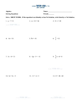 worksheet equations solve two step equations no solutions and identities algebra printable. Black Bedroom Furniture Sets. Home Design Ideas