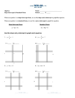 PDF: Algebra - slope, standard form