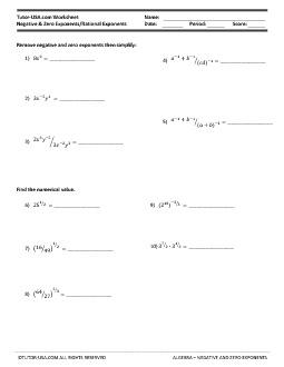 Worksheet: Exponents - Negative and Zero Exponents - Rational ...
