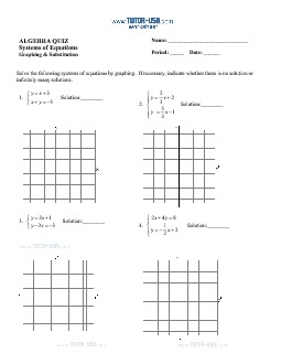 Worksheet: Systems of Equations - Solve using Graphing and ...