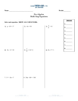 worksheet equations solve two step and multi step equations algebra printable. Black Bedroom Furniture Sets. Home Design Ideas