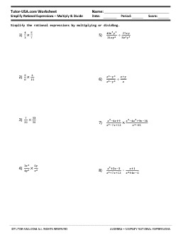 Worksheet: Simplify Rational Expressions - Multiply and Divide ...