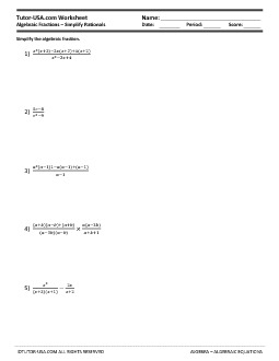 simplifying rational expressions worksheet pdf