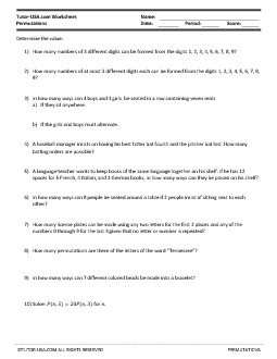PDF: Algebra, Statistics & Probability - permutations