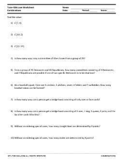 PDF: Algebra, Statistics & Probability - combinations