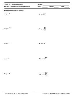 Calculus worksheets derivatives