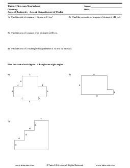PDF: Geometry - perimeter, area, circles, circumference