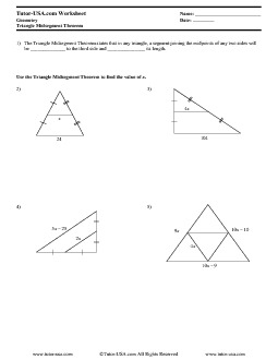 Worksheet Triangle Midsegment Theorem Geometry Printable