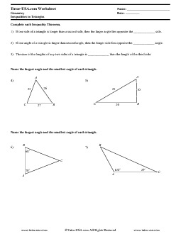 PDF: Geometry - triangles, inequalities, triangle inequality theorem