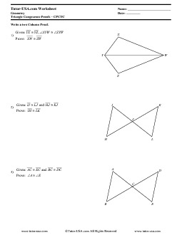 Worksheet: Triangle Congruence Proofs - CPCTC - Corresponding ...