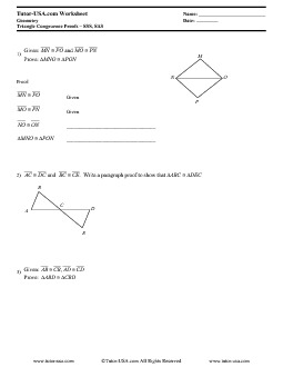 Worksheet: Triangle Congruence Proofs - SSS & SAS Postulates ...