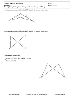 worksheet proving triangles congruent triangle congruence geometry printable. Black Bedroom Furniture Sets. Home Design Ideas