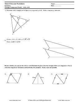 Worksheet: Triangle Congruence Proofs - AAS & ASA Postulates ...