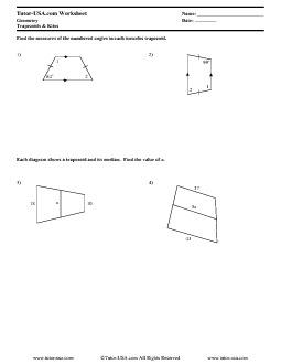 worksheet trapezoids kites medians geometry printable. Black Bedroom Furniture Sets. Home Design Ideas