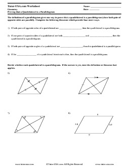 math worksheet : worksheet proving that quadrilaterals are parallelograms  : Parallelogram Worksheet