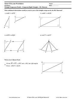 Worksheet: Proving Right Triangles Congruent HL Theorem | Geometry ...