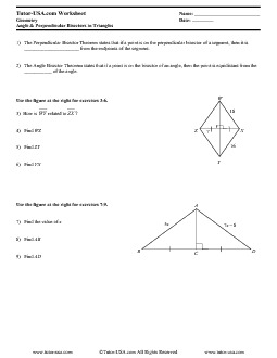 Worksheet: Properties of Perpendicular & Angle Bisectors ...