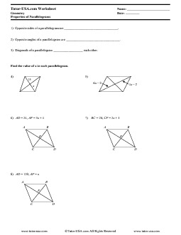 math worksheet : worksheet properties of parallelograms  geometry printable : Parallelogram Worksheet