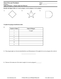 worksheet polygon angle sum theorem classifying polygons geometry printable. Black Bedroom Furniture Sets. Home Design Ideas