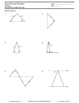 Worksheet: Isosceles Triangles - Theorems and Properties | Geometry ...