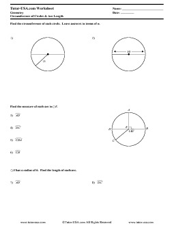 worksheet circles arcs central angles circumference geometry printable. Black Bedroom Furniture Sets. Home Design Ideas