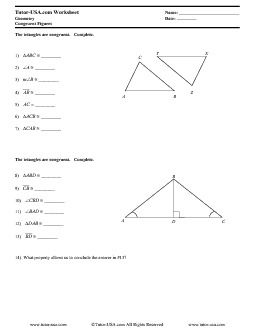 worksheet congruent figures congruency statements geometry printable. Black Bedroom Furniture Sets. Home Design Ideas