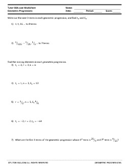 PDF: Algebra, Geometry, Statistics & Probability - geometric progressions