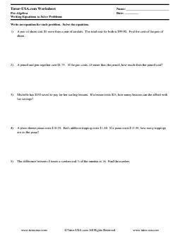 PDF: Pre-Algebra - equations