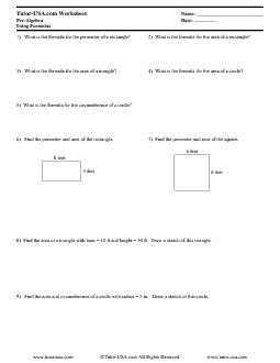 worksheet using formulas area and perimeter pre algebra printable. Black Bedroom Furniture Sets. Home Design Ideas