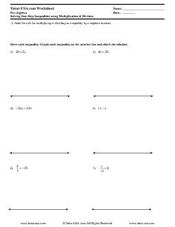 math worksheet : worksheet solving inequalities using multiplication and division  : Algebra Multiplication And Division Worksheets