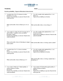 Worksheet: Probability and Odds - Number Cubes (Dice ...