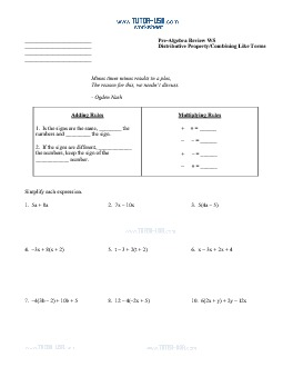 PDF: Pre-Algebra - distributive property, combining like terms