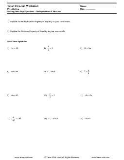Worksheet Solving One Step Equations Using Multiplication
