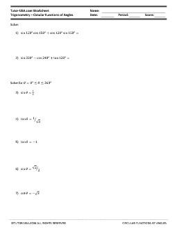 Worksheet: Trigonometric Functions - Circular Functions and