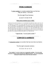 PDF: Pre-Algebra - prime numbers, composite numbers
