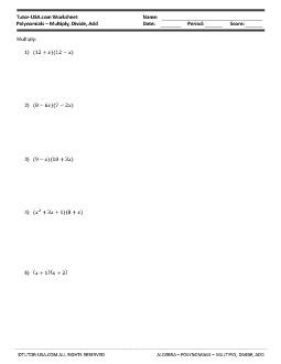 PDF: Algebra - polynomials, distributive property, synthetic division, factoring